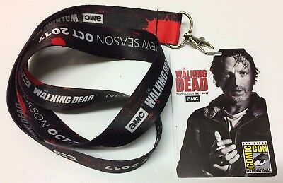 2017 SDCC AMC Walking Dead Attendee Badge & Lanyard Rick Grimes Andrew Lincoln