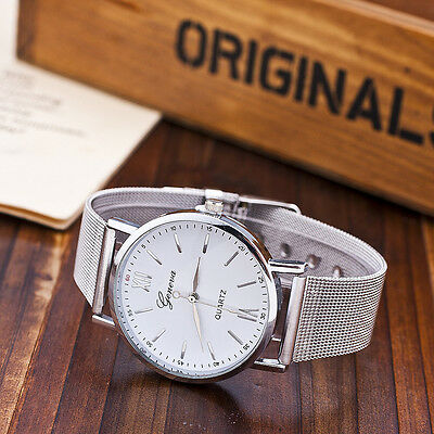 New Casual Luxury Women's Men Stainless Steel Band Quartz Analog Wrist Watch