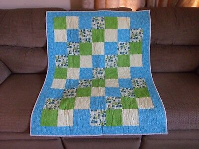 Hand Made Baby Boy Girl Blanket Quilt Blue Green Bubbles Floral Catholic Baptism