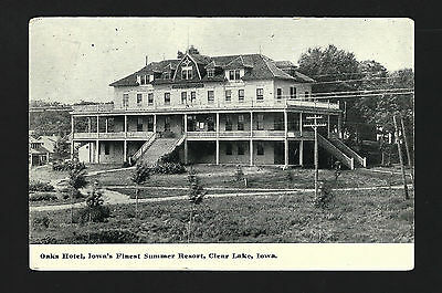 Clear Lake Iowa IA 1908 3 Story Oaks Hotel Building, Yard & Cabins by the Lake