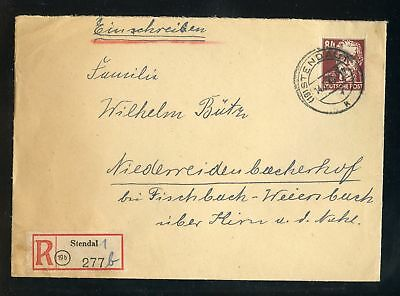 SBZ Nr.222 AUGUST BEBEL R-BRIEF STENDAL 14.7.1949 nach Fischbach (951410)