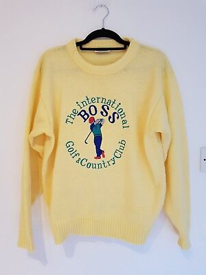 Hugo Boss Mens Rare Vintage Jumper Sweater Size L Country Club Embroidered  Logo