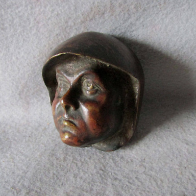Antique Arts & Crafts Bronze Friar, Monk Head