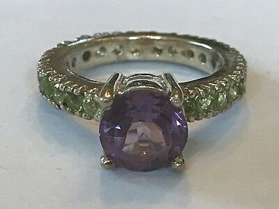 Fancy Fashion STERLING SILVER w/ Beautiful Amethyst & Peridot Stones Ring Sz 7