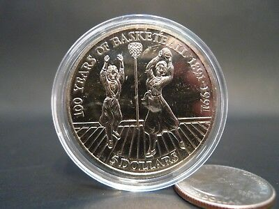 NIUE 100 YEARS OF BASKETBALL 5 DOLLARS 1991 Silver Tone Coin w/ Case !!!