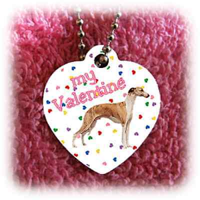 "Whippet Dog heart necklace 24"" chain Valentine NEW"