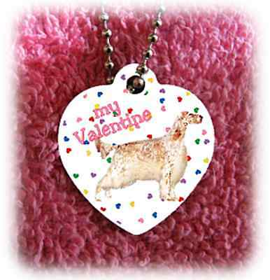 "English Setter Dog heart necklace 24"" chain Valentine"