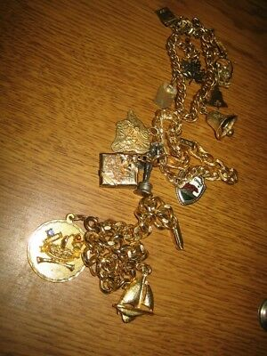 Vintage Lot of 3 Fun Charm Bracelets Gold Plated Collectable