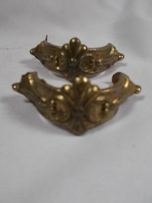 Pair of Vintage Art Deco style Cast Brass finish Drawer Pulls 3.25in wide c1920s