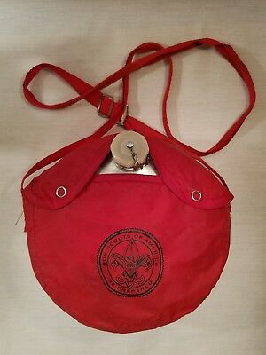 Vintage Boy Scouts Water Canteen Regal Red Canvas Cover