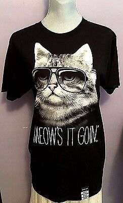 Black Matter (Meow's it Goin') Cotton T-Shirt  by Goodie Two Sleeves sz M (NWT)