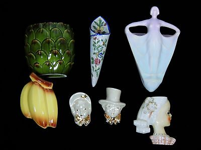 Lot 7 Vintage Porcelain Wall Hanging Planters Pineapple Bananas Opalescent Faces