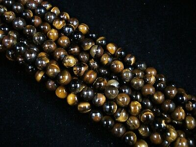 Gemstone Beads Tiger Eye 6mm Round Beads 35cm Strand Semi Precious FREE POSTAGE