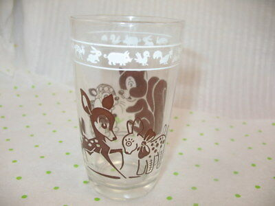 VINTAGE Kraft Cheese Swanky Swig Child Juice Glass BROWN Fawn Deer Squirrel ~