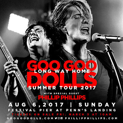 "Goo Goo Dolls ""long Way Home Summer Tour 2017"" Philadelphia Concert Poster"