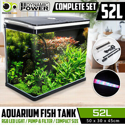 Aquarium Fish Tank Curved Glass RGB LED Light Complete Set Filter Pump 52L