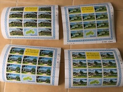 St Vincent Beauia West Indies  Mustique4 x souvenir Sheets MNH rare 1st printing