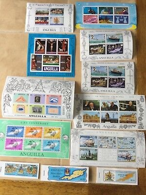 9 miint Souvenir sheets & 3 Stamp books from Anguilla