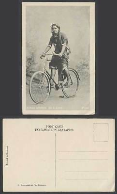 India Old Postcard Bombay A Native Hindu Woman on a Bike Cyclist Cycling Bicycle