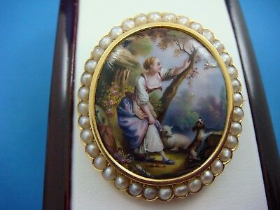 Antique Hand Painted 14K Yellow Gold Brooch With Halo Seed Pearls, 11.4 Grams