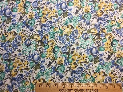Vintage Cotton Fabric 50s SWEET Lil Blue Turquoise & Yellow Retro Floral 35w 1yd