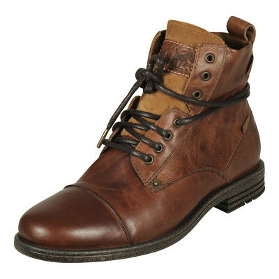 65bdc6b0882 LEVIS EMERSON LEATHER & Suede Red Tab Ankle Boots in Brown - $106.41 ...