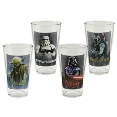 Classic Star Wars Characters 16 Oz Photo Pint Glass Set of 4, NEW UNUSED