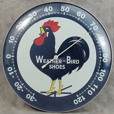 "Weather-Bird Shoes Thermometer 12"" Round Glass Dome Advertising Sign"