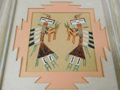 Vintage Native American NAVAJO SAND ART PAINTING Matted Framed MEXICO Signed