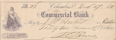 Antique Check Commercial Bank, Columbus, Ohio   1870  Vignette