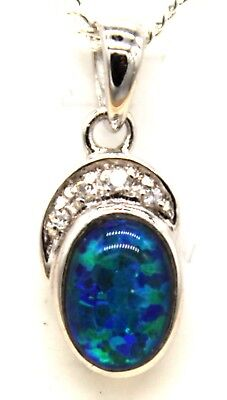 Opal Size 7x5mm Lady Gift Natual Opal Pendant Solid 925 Sterling Silver 18k WGP