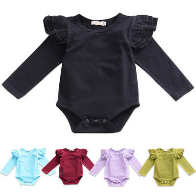 Newborn Baby Boy Girl Ruffle Romper Bodysuit Jumpsuit Long Sleeve Outfit Clothes