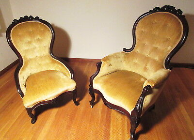 Pair c1890 His & Hers Victorian High Back Parlor Chairs Carved Rosewood & Velvet