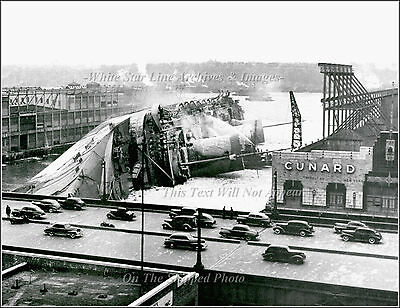 Photo: The Wreck Of The SS Normandie, Cunard Pier, NY, 1942