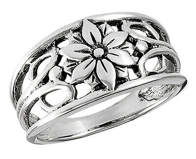 Sterling Silver Openwork Ring with Flower Size 8