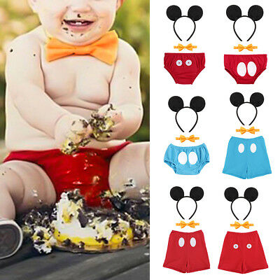 Mickey Mouse Baby Boy 1st Birthday Cake Smash Outfit Photo Prop Costume 3pcs Set