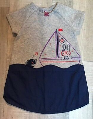 DPAM 18 MOIS Fille : Robe GRISE MATIÈRE SWEAT TBE