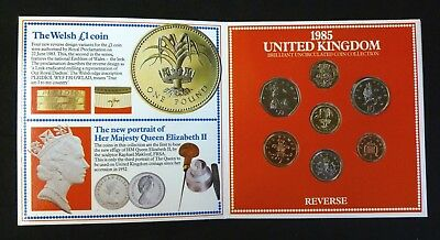 1985 Uncirculated UK Coin Year set BU 7-coin Royal Mint pack with rare large 50p