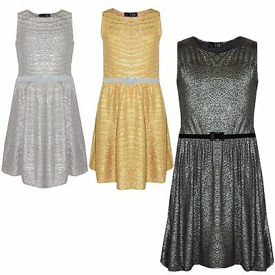 Girls Skater Dress Kids Shiny Summer Party Dresses With A Free Belt 7-13 Years