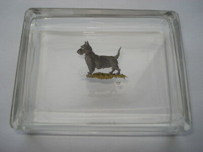 C1920S-30S Beautiful Cut Glass Dressing Table Box With Picture Of Scottie Dog