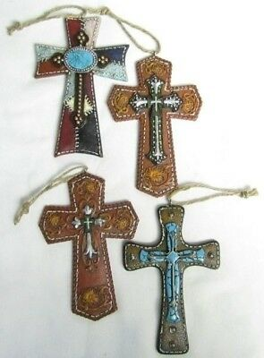 Western Crosses Christmas Ornament - Colorful SW Designs - Set of 4 (0008)