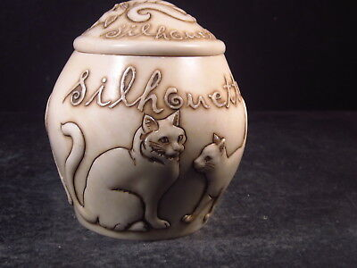 Harmony Kingdom Harmony Ball Jardinia SILHOUETTE  Cat Covered Jar or Box
