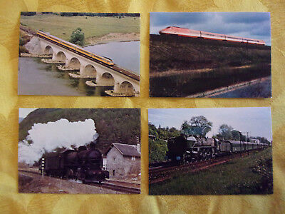 B. Lot de 4 Cartes Postales couleurs. CHEMIN DE FER, TRAINS, LOCOMOTIVES.