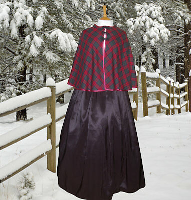 Ladies Victorian Dickensian 2pc costume fancy dress size 16-18 tartan & satin
