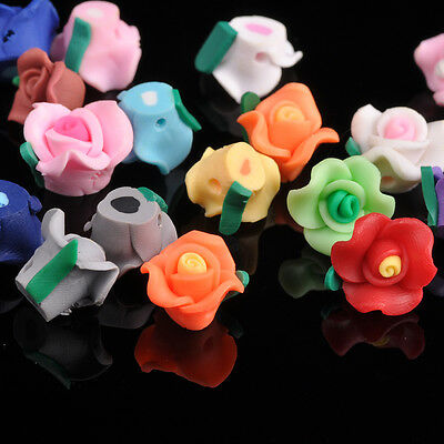 30pcs 13mm Polymer Clay Charm Flower Loose Spacer Beads Mixed Colors