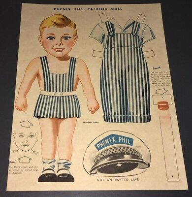 "1950's ""phenix Phil"" Talking Paper Doll Texas Dairy Premium - Xf & Uncut!"
