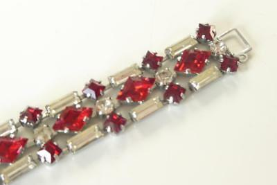Vintage Costume Jewellery Bracelet Red Clear Diamante Detail Stones Reproduction