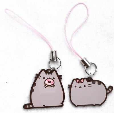 PUSHEEN the Cat w/ Bow & Doughnut Phone/Backpack Charms *SET OF 2* >NEW<
