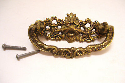 Antique Brass Drawer Pull Drop Handle Lion Head 3 Inch Spacing