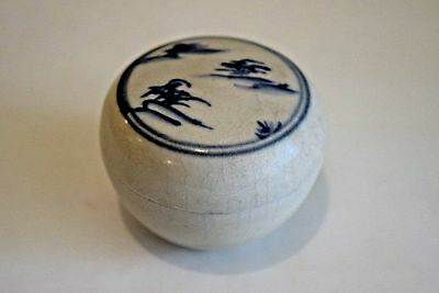 Hoi An - 15th Century - Perfect, Large, Blue White Covered Box, w/ Landscape 624